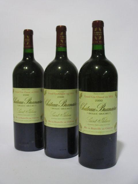 3 magnums CHÂTEAU BRANAIRE DUCRU 2000 4è GC Saint Julien (étiquettes fanées) (cave 6)
