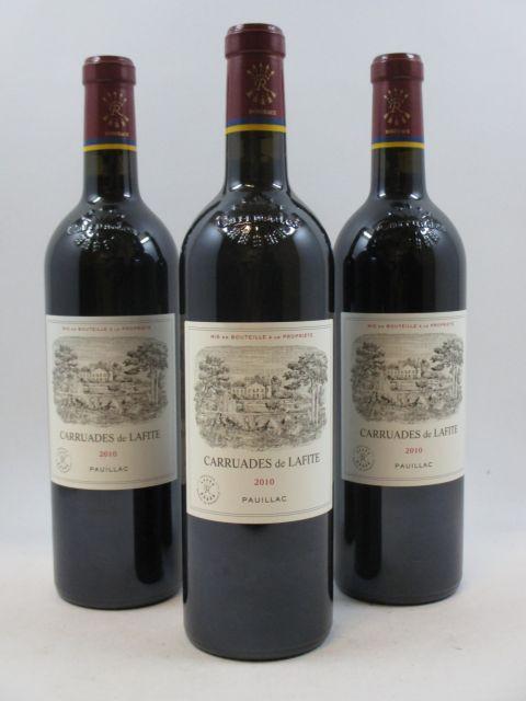 3 bouteilles CARRUADES DE LAFITE 2010 Pauillac Caisse bois d'origine (cave 9)