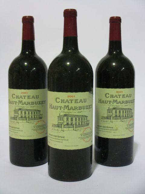 3 magnums CHÂTEAU HAUT MARBUZET 2001 Saint Estèphe (étiquettes léger abimées) (cave 6)