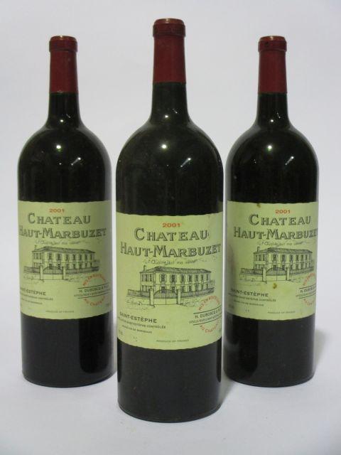 3 magnums CHÂTEAU HAUT MARBUZET 2001 Saint Estèphe (étiquettes léger tachées) (cave 6)