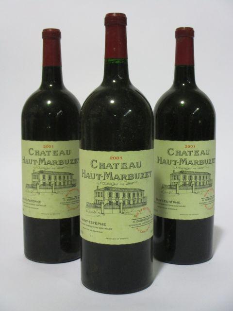 3 magnums CHÂTEAU HAUT MARBUZET 2001 Saint Estèphe (étiquettes léger fanées) (cave 6)