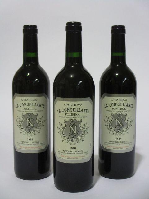 6 bouteilles CHÂTEAU LA CONSEILLANTE 1998 Pomerol  (cave 6)