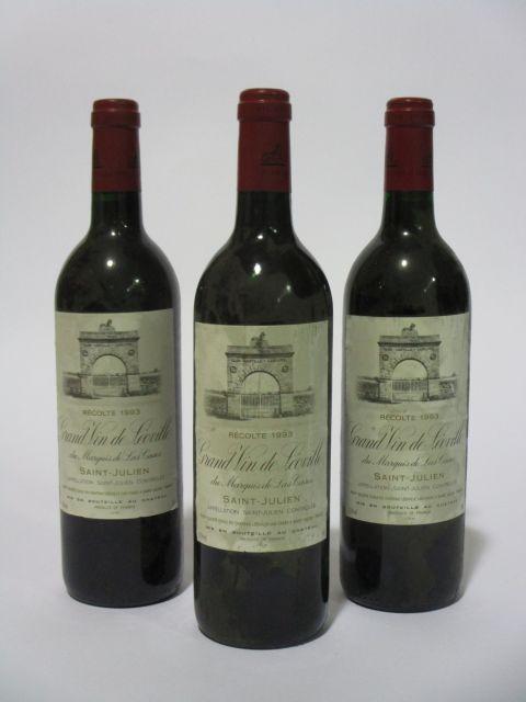 3 bouteilles CHÂTEAU LEOVILLE LAS CASES 1993 2è GC Saint Julien (étiquettes sales et fanées) (cave 6)