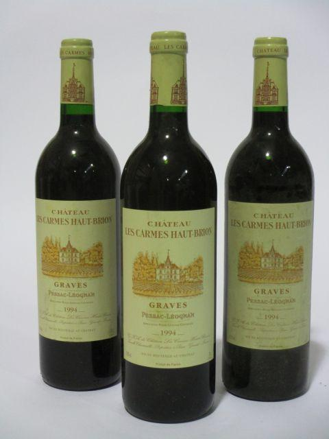 8 bouteilles CHÂTEAU LES CARMES HAUT BRION 1994 Pessac Léognan (étiquettes fanées) (cave 6)