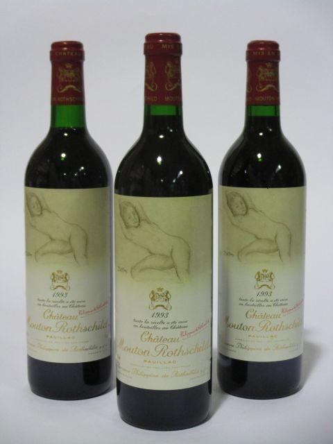 5 bouteilles CHÂTEAU MOUTON ROTHSCHILD 1993 1er GC Pauillac (dont une base goulot) (cave 6)