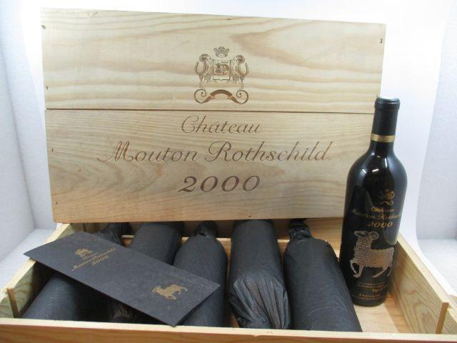 6 bouteilles CHÂTEAU MOUTON ROTHSCHILD 2000 1er GC Pauillac Caisse bois d'origine