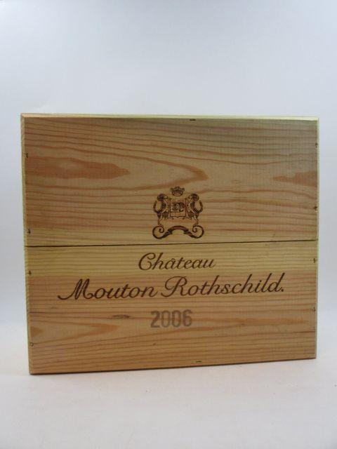 3 bouteilles CHÂTEAU MOUTON ROTHSCHILD 2006 1er GC Pauillac Caisse bois d'origine (cave 9)