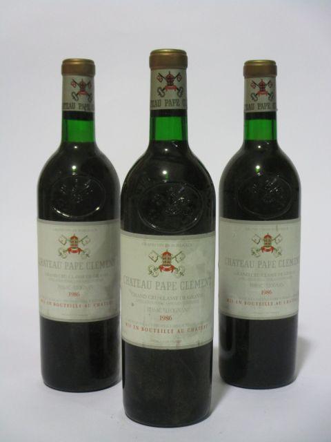 6 bouteilles CHÂTEAU PAPE CLEMENT 1986 CC Pessac Léognan (étiquettes léger tachées) (cave 6)