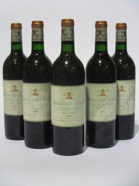 5 bouteilles CHÂTEAU PAPE CLEMENT 1992 CC Pessac Léognan (étiquettes fanées) (cave 6)