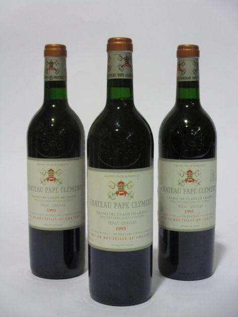 12 bouteilles CHÂTEAU PAPE CLEMENT 1993 CC Pessac Léognan (dont 2 base goulot