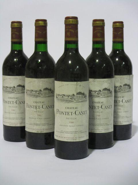 5 bouteilles CHÂTEAU PONTET CANET 1986 5è GC Pauillac (étiquettes fanées et tachées) (cave 6)