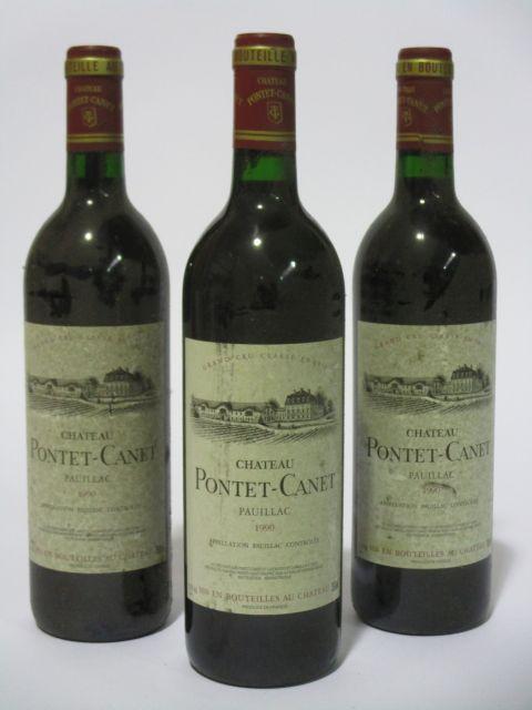 6 bouteilles CHÂTEAU PONTET CANET 1990 5è GC Pauillac (étiquettes sales et tachées) (cave 6)