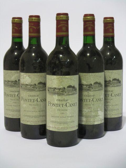 5 bouteilles CHÂTEAU PONTET CANET 1990 5è GC Pauillac (étiquettes sales et tachées) (cave 6)