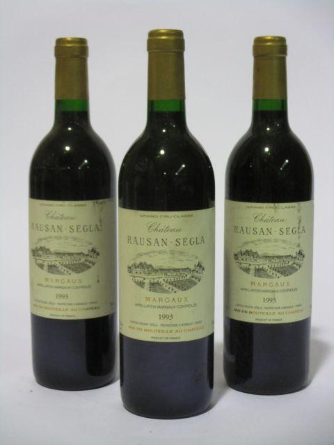 6 bouteilles CHÂTEAU RAUSAN SEGLA 1993 2è GC Margaux (étiquettes fanées) (cave 6)