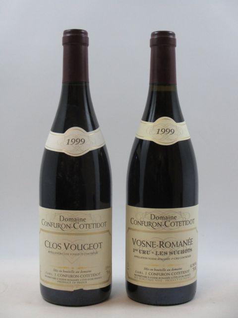 2 bouteilles 1 bt : CLOS VOUGEOT 1999 Grand Cru. Confuron Cotetidot (étiquette léger déchirée)