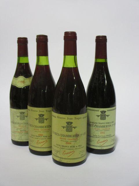 4 bouteilles 1 bt : LATRICIERES CHAMBERTIN 1986 Grand Cru. Louis Trapet Père & Fils (étiquette sale et tachée)