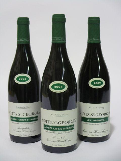 9 bouteilles 2 bts : NUITS SAINT GEORGES 2002 1er cru Les Chaignots. Domaine Henri Gouges (étiquettes fanées)