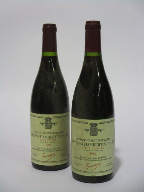 6 bouteilles 3 bts : GEVREY CHAMBERTIN 1992 1er cru Clos Prieur. Jean & Jean-Louis Trapet (étiquettes fanées et tachées)