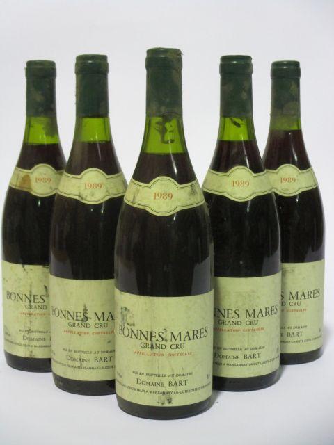 5 bouteilles BONNES MARES 1989 Grand Cru