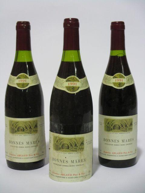 3 bouteilles BONNES MARES 1991 Grand Cru