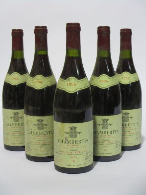5 bouteilles CHAMBERTIN 1986 Grand Cru