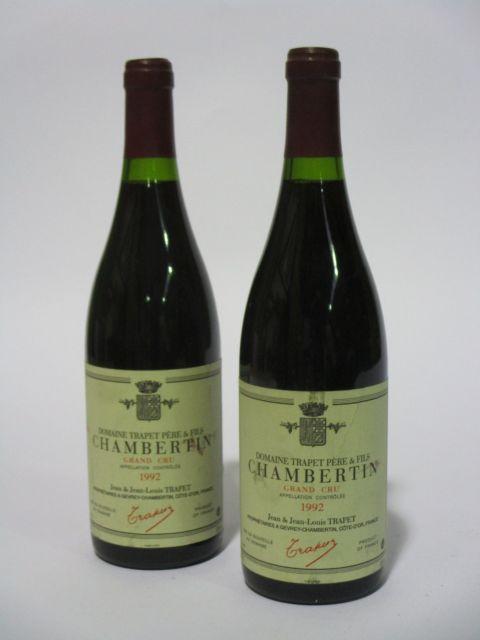 2 bouteilles CHAMBERTIN 1992 Grand Cru