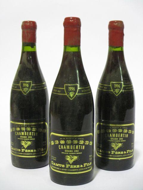 3 bouteilles CHAMBERTIN 1996 Grand Cru