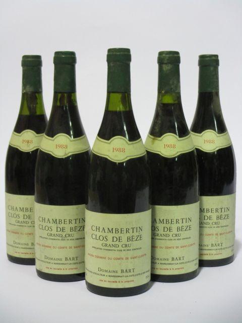 5 bouteilles CHAMBERTIN CLOS DE BEZE 1988 Grand Cru