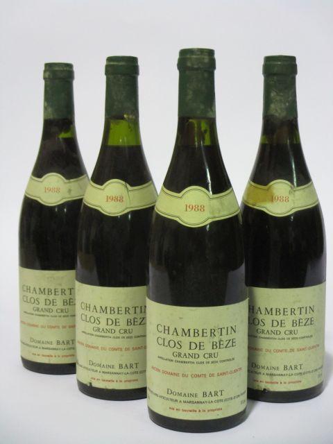 4 bouteilles CHAMBERTIN CLOS DE BEZE 1988 Grand Cru
