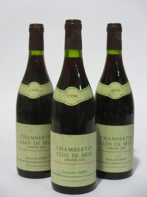 3 bouteilles CHAMBERTIN CLOS DE BEZE 1990 Grand Cru