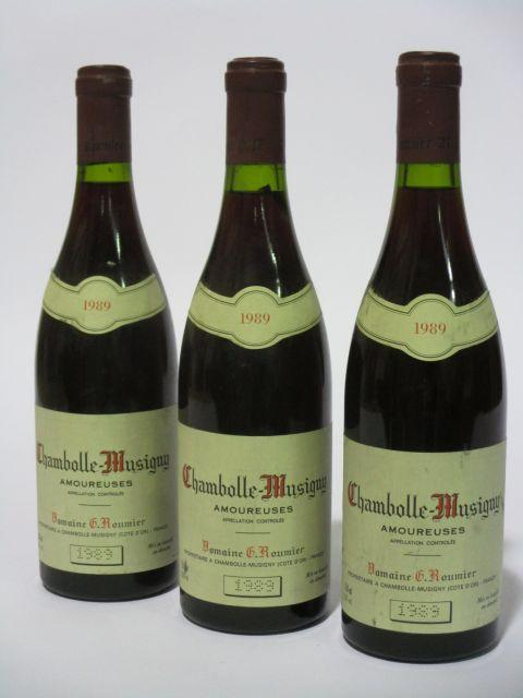 3 bouteilles CHAMBOLLE MUSIGNY 1989 1er cru Les Amoureuses