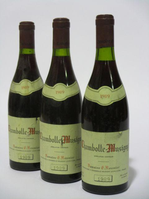 3 bouteilles CHAMBOLLE MUSIGNY 1989 Georges Roumier (étiquettes sales