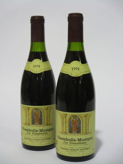 2 bouteilles CHAMBOLLE MUSIGNY 1991 1er cru Les Feusselottes