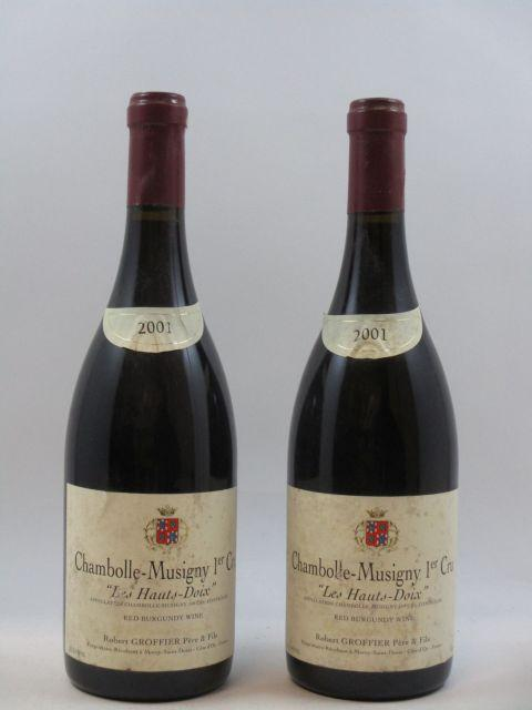 2 bouteilles CHAMBOLLE MUSIGNY 2001 1er cru Les Hauts Doix