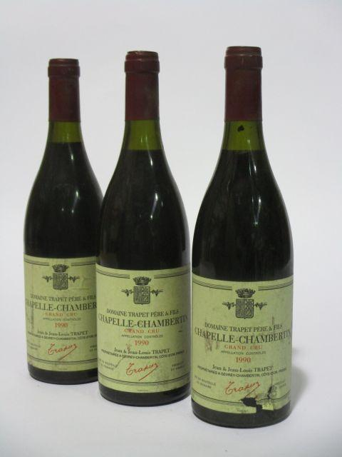 3 bouteilles CHAPELLE CHAMBERTIN 1990 Grand Cru
