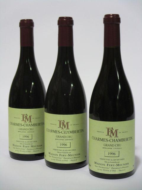 5 bouteilles CHARMES CHAMBERTIN 1996 Grand Cru