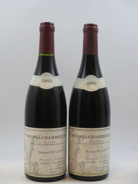 2 bouteilles CHARMES CHAMBERTIN 2001 Grand Cru