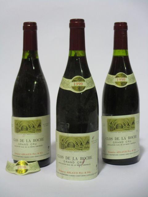 3 bouteilles CLOS DE LA ROCHE 1990 Grand Cru