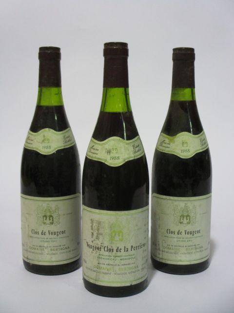5 bouteilles CLOS DE VOUGEOT 1988 Grand Cru