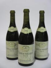 3 bouteilles CLOS DE VOUGEOT 1988 Grand Cru