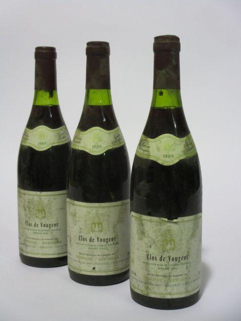 6 bouteilles CLOS DE VOUGEOT 1989 Grand Cru