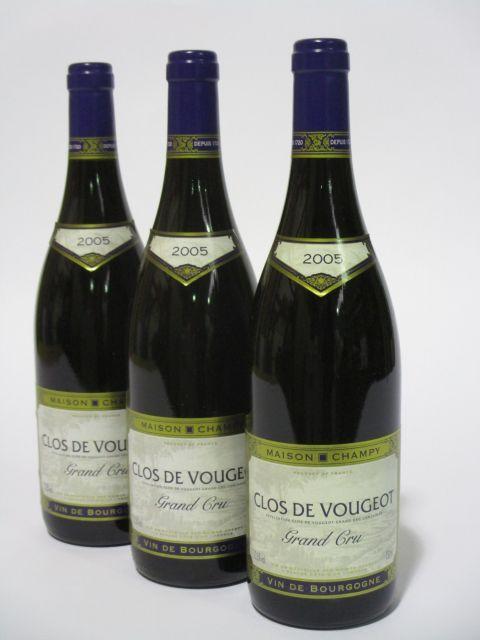 6 bouteilles CLOS DE VOUGEOT 2005 Grand Cru