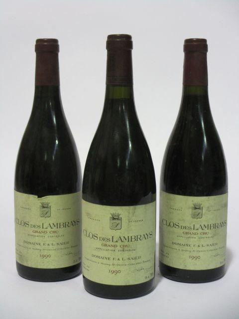 3 bouteilles CLOS DES LAMBRAYS 1990 Grand Cru