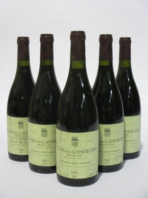 5 bouteilles CLOS DES LAMBRAYS 1993 Grand Cru