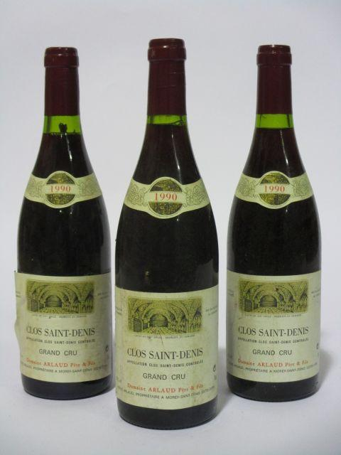 3 bouteilles CLOS SAINT DENIS 1990 Grand Cru