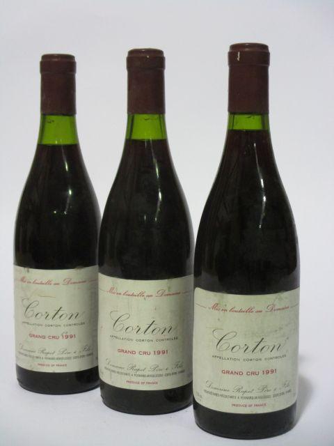6 bouteilles CORTON 1991 Grand Cru