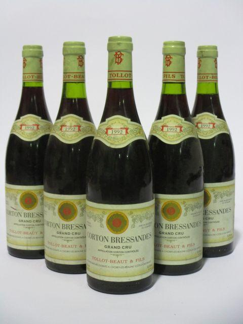 5 bouteilles CORTON BRESSANDES 1992 Grand Cru