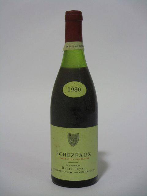 1 bouteille  ECHEZEAUX 1980 Grand Cru. Henri Jayer (niveau 3,5 cm, capsule neutre, étiquette fanée et sale)   (cave 6)