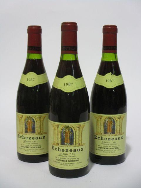 3 bouteilles ECHEZEAUX 1987 Grand Cru