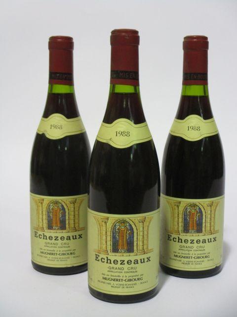 3 bouteilles ECHEZEAUX 1988 Grand Cru